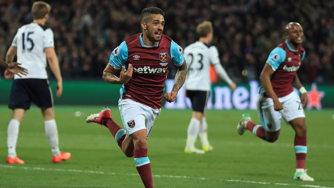Manuel Lanzini celebrates after scoring a goal for West Ham in a 1-0 win against Tottenham.