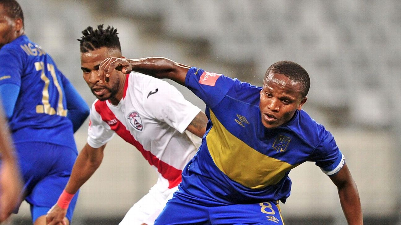 Lebogang Manyama of Cape Town City is challenged by Nhlanhla Vilakazi of Free State Stars during the Absa Premiership 2016/17 game between Cape Town City and Free State Stars at Cape Town Stadium.