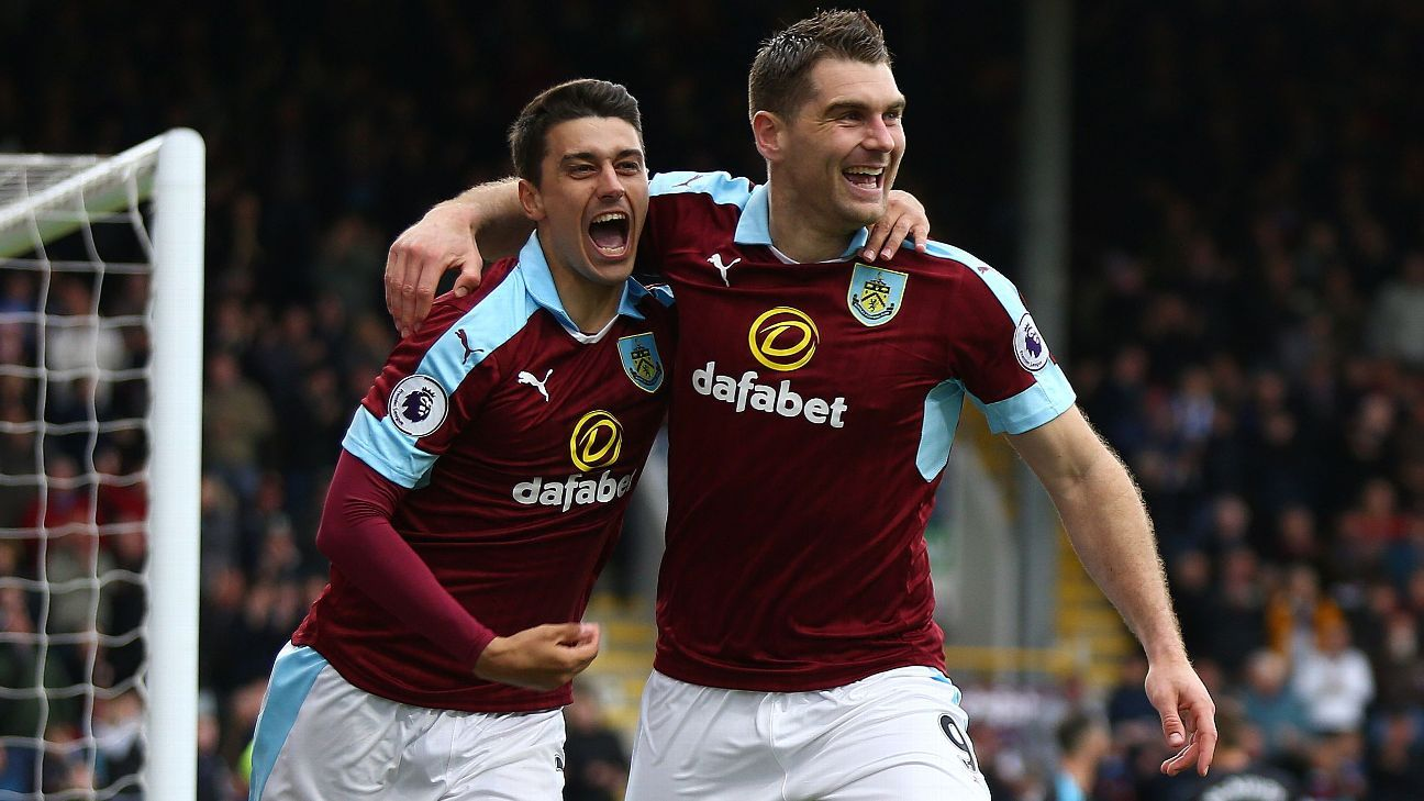 Sam Vokes struck twice for Burnley.