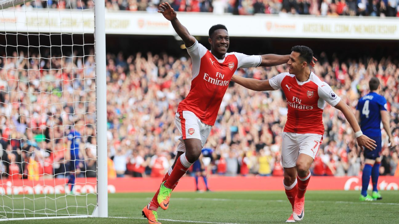 Danny Welbeck celebrates after doubling Arsenal's lead.