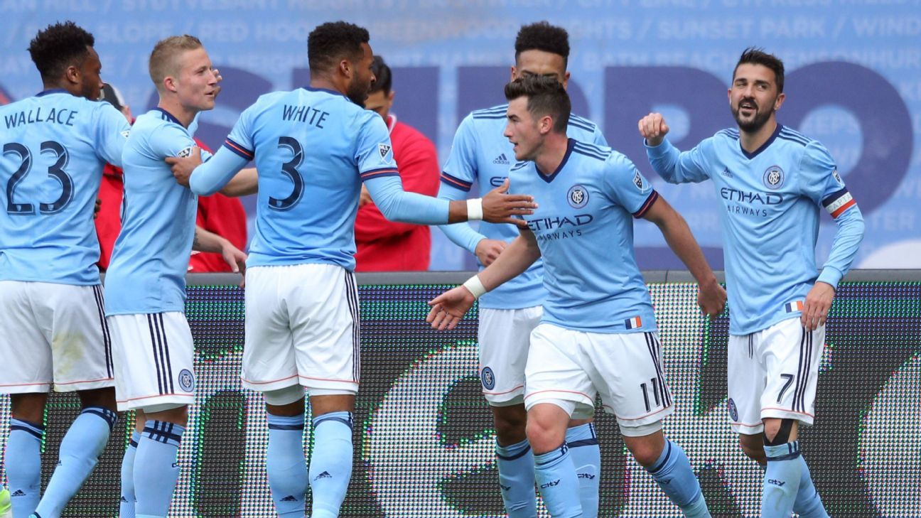 New York City FC forward David Villa celebrates his goal against Atlanta United.