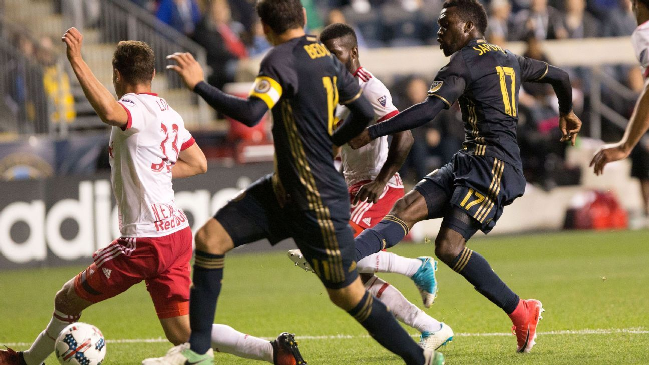 C.J. Sapong netted a second-half hat trick in the Union's win over the Red Bulls.