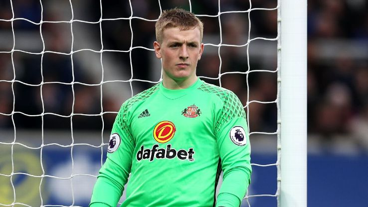 Jordan Pickford looks on during the Premier League match between Everton and Sunderland at Goodison Park on February 25, 2017 in Liverpool, England. (Photo by Chris Brunskill Ltd/Getty Images)