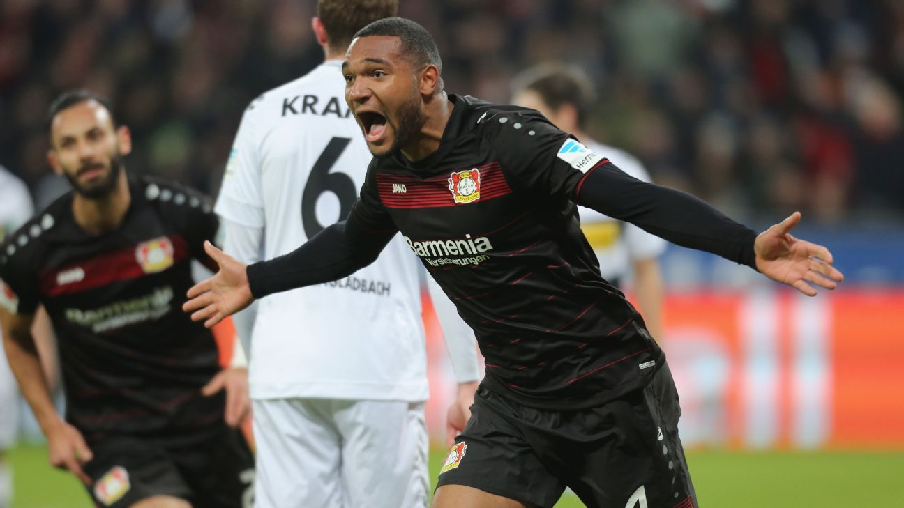 Jonathan Tah celebrates his goal during the Bundesliga match between Bayer Leverkusen and Borussia Monchengladbach at BayArena on January 28, 2017 in Leverkusen, Germany. (Photo by TF-Images/Getty Images)