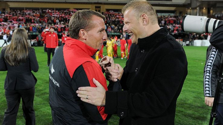 Josep Gombau and Brendan Rodgers in 2015