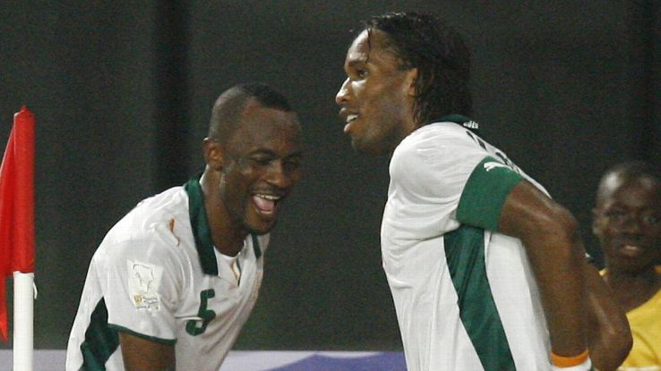 Zakora and Drogba at 2008 African Nations Cup
