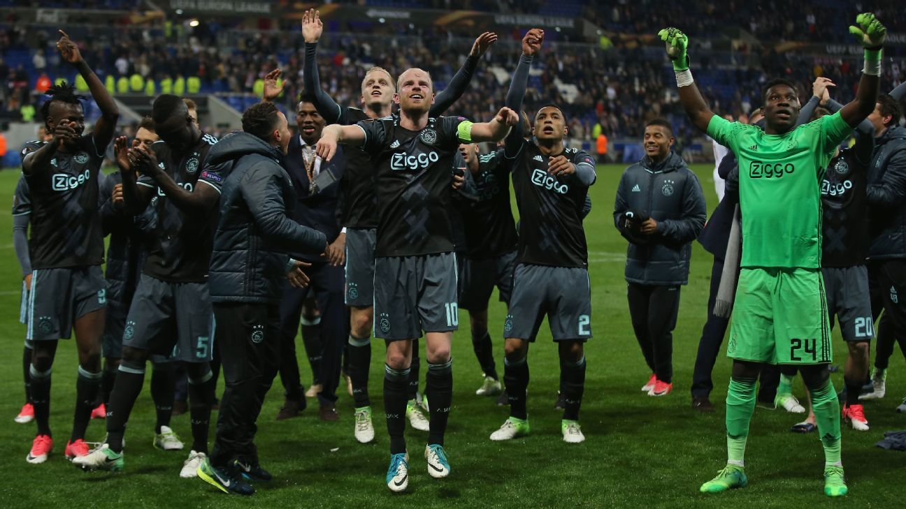 Ajax celebrate their passage into the Europa League final.
