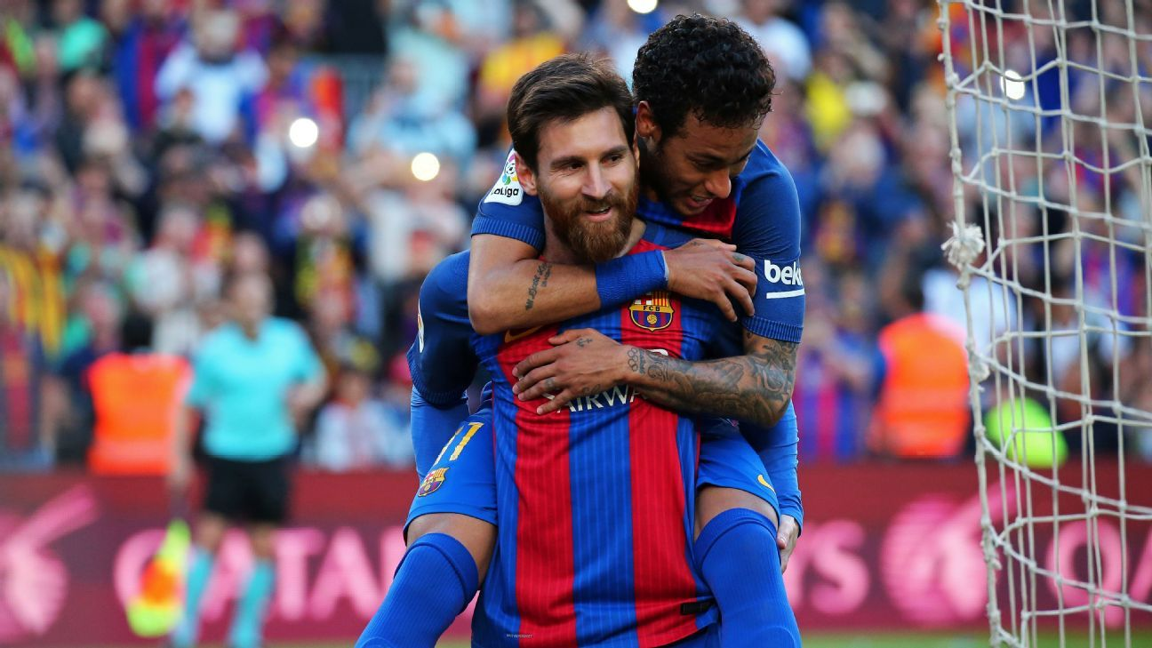 Leo Messi and Neymar Jr. celebrate during the match between Barcelona and Villarreal on May 6, 2017. (Photo by Urbanandsport/NurPhoto via Getty Images)