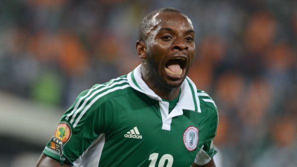 Sunday Mba of Nigeria celebrates his goal during the 2013 Orange African Cup of Nations Final match between Nigeria and Burkina Faso from the National Stadium in Johannesburg, South Africa.