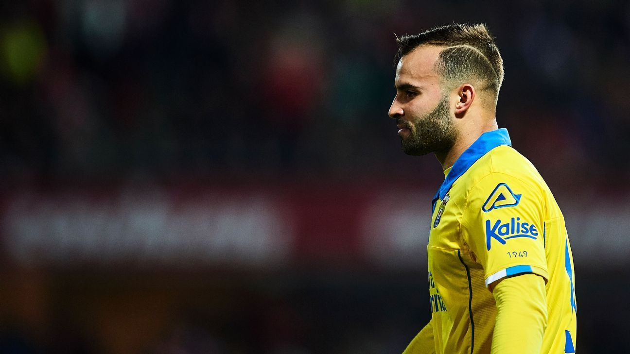 Jese Rodriguez in action for Las Palmas during a La Liga game against Granada.