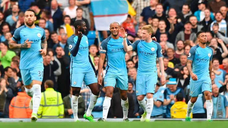 Manchester City players celebrate after Gabriel opened the scoring for his team against West Brom.