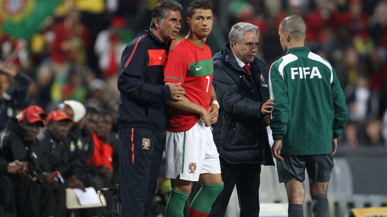 Carlos Queiroz and Ronaldo at Portugal 2010