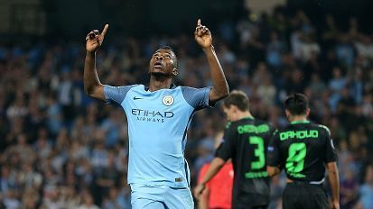 Kelechi Iheanacho of Manchester City celebrates after scoring.