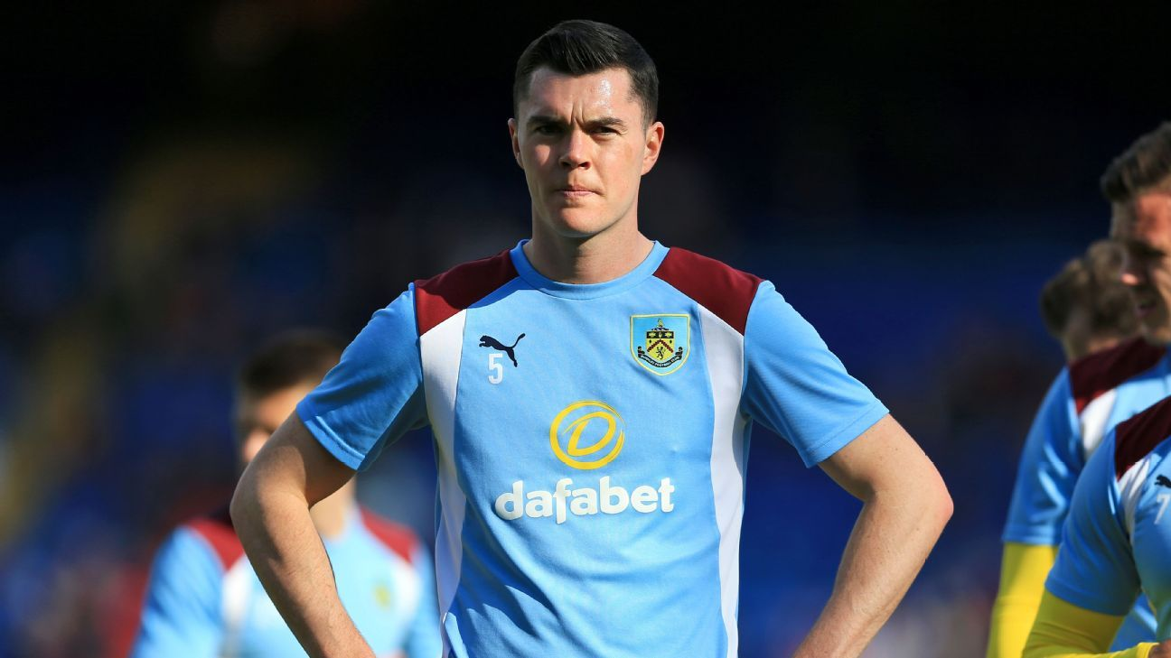 Michael Keane stands on the pitch at Selhurst Park before the game between Burnley and Crystal Palace on April 29, 2017 in London. (Photo by Nigel French/PA Images via Getty Images)
