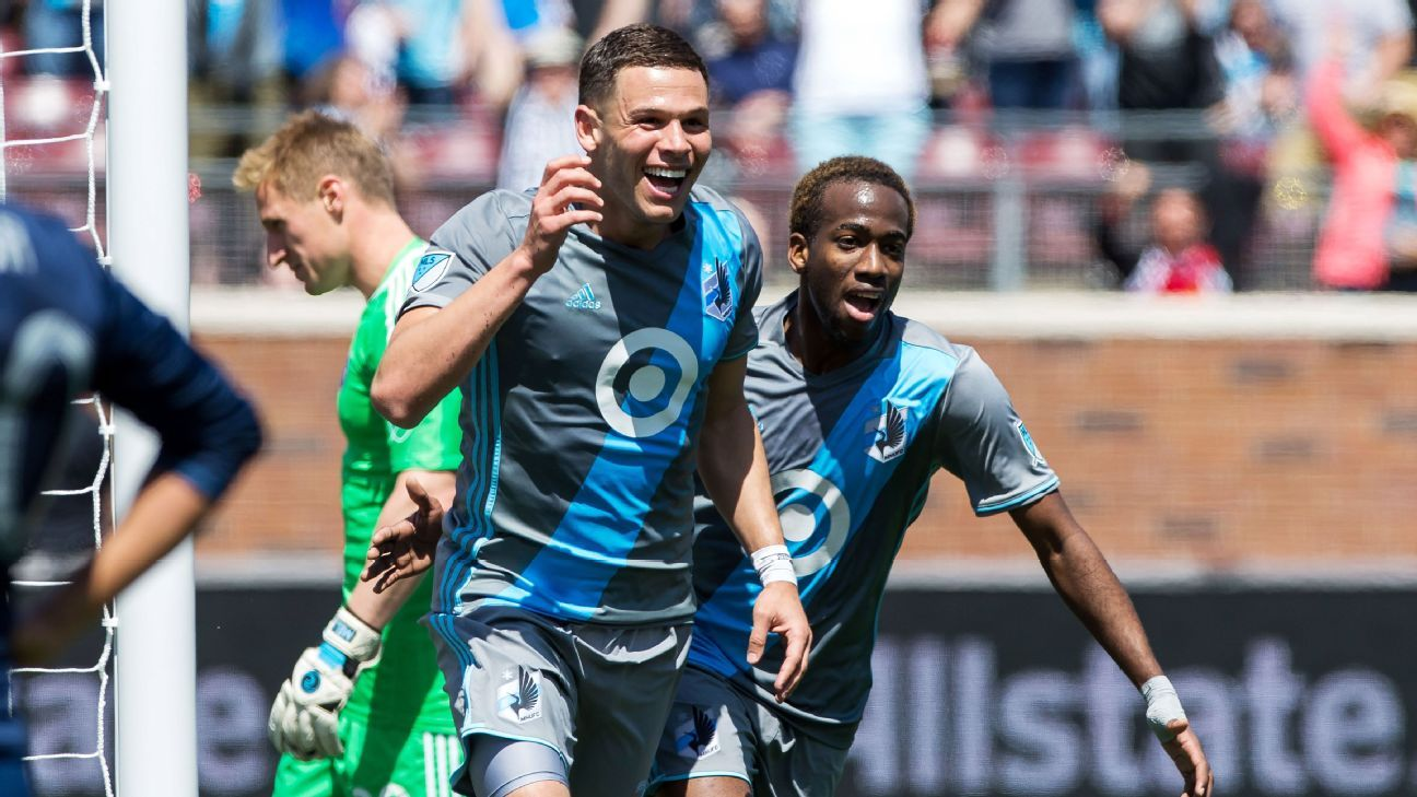 Minnesota United forward Christian Ramirez celebrates after opening the scoring against Sporting Kansas City on Sunday.