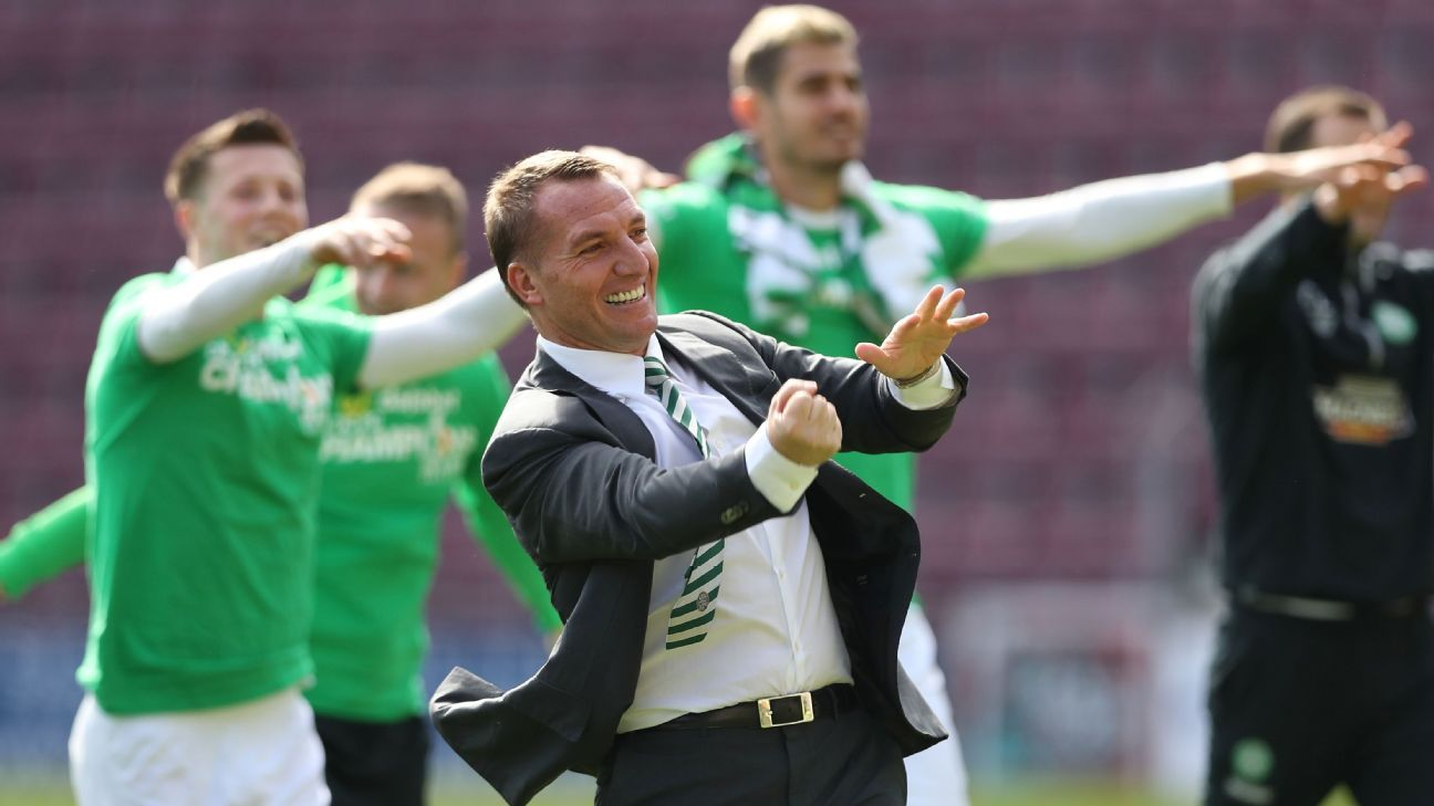 Brendan Rodgers urges Celtic players to beat Martin O'Neill's record season