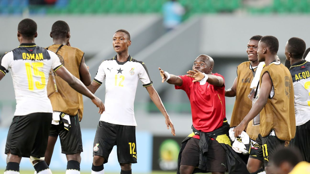 Ghana team celebrates victory during the 2017 Under 17 Africa Cup of Nations Finals football match between Ghana and Gabon at the Port Gentil Stadium, Gabon.