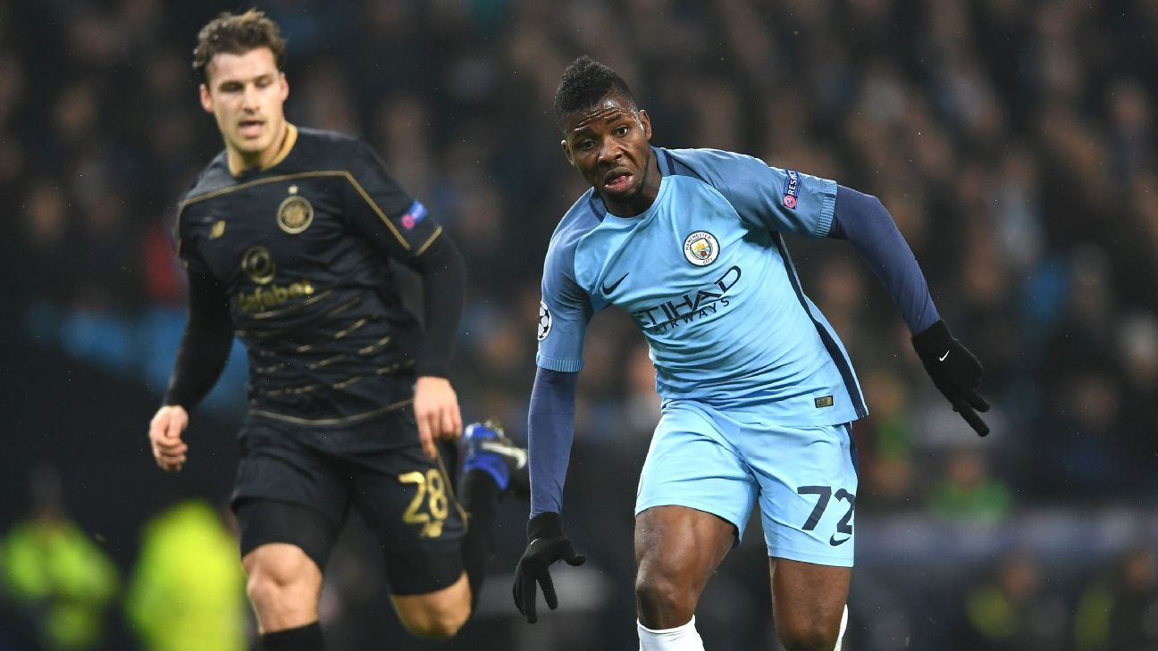 Manchester City's Kelechi Iheanacho in action during a UEFA Champions League match against Celtic.