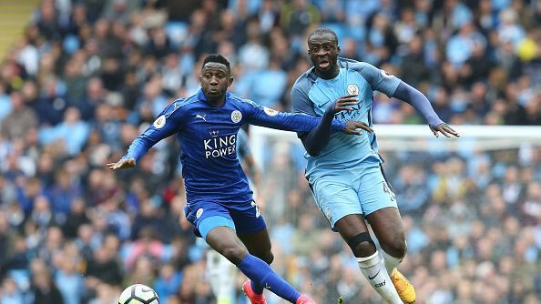 Leicester City's Wilfred Ndidi and Manchester City's Yaya Toure during the Premier League match between Manchester City and Leicester City at Etihad Stadium.