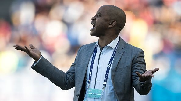 Head coach Thabo Senong of South Africa gives instructions during the FIFA U-20 World Cup Korea Republic 2017 group D match between South Africa and Japan at Suwon World Cup Stadium.