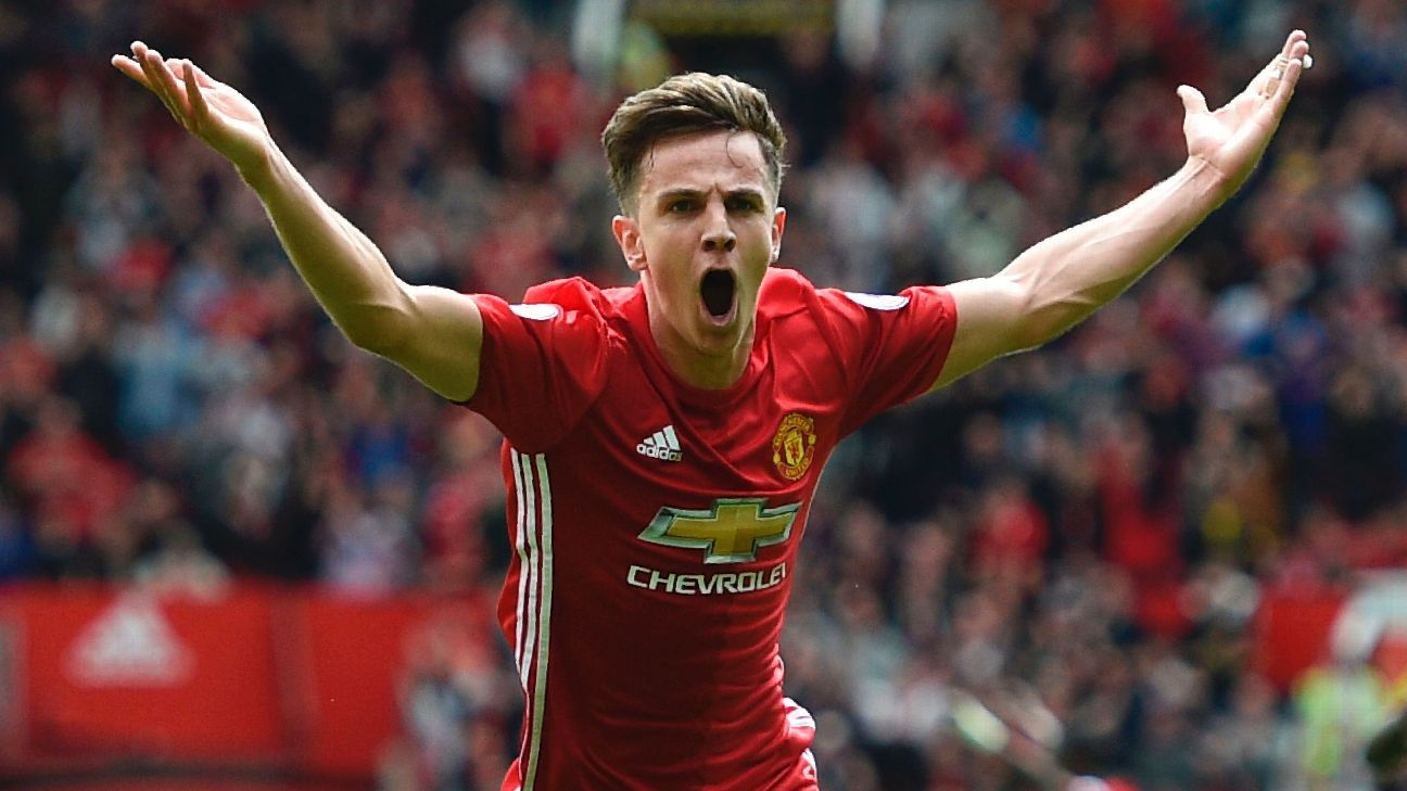 Josh Harrop scored on his Premier League debut to lift Man United.