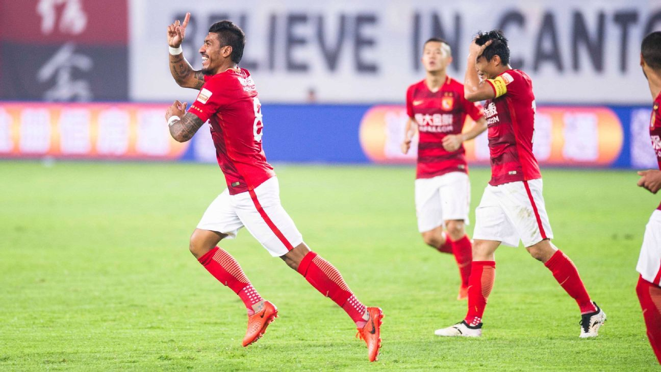Paulinho of Guangzhou Evergrande celebrates goal