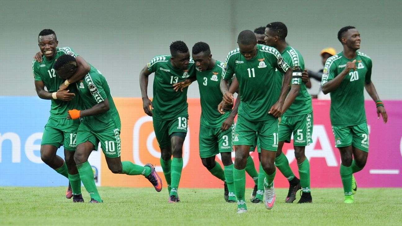 Zambia U20 celebrate a goal by Fashion Sakala