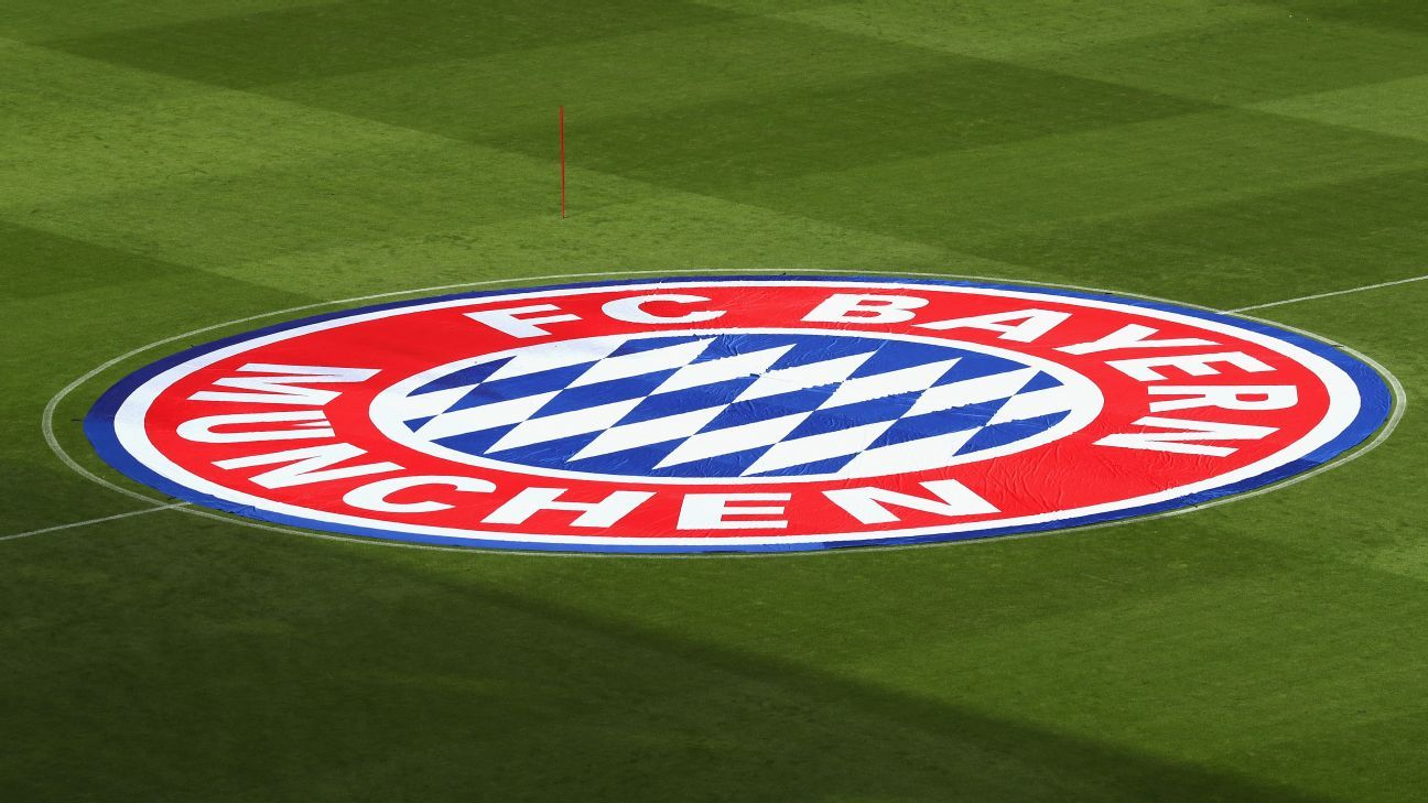 The Bayern Munich logo on the Allianz Arena pitch ahead of the Bundesliga game against Freiburg in May 2017.