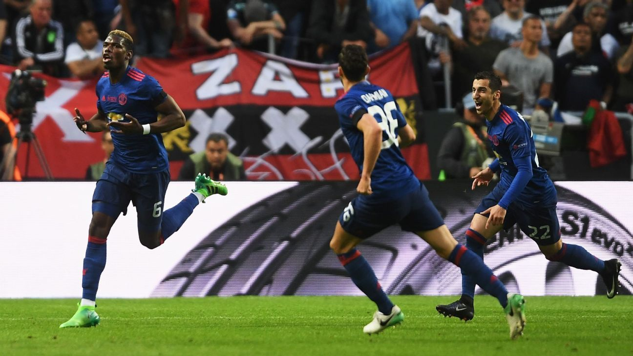 Paul Pogba opened the scoring for Manchester United in Stockholm.