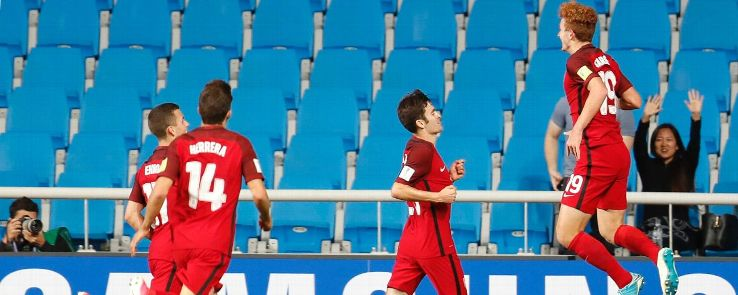 USA's Josh Sargent celebrates a goal against Senegal during the FIFA U-20 World Cup.