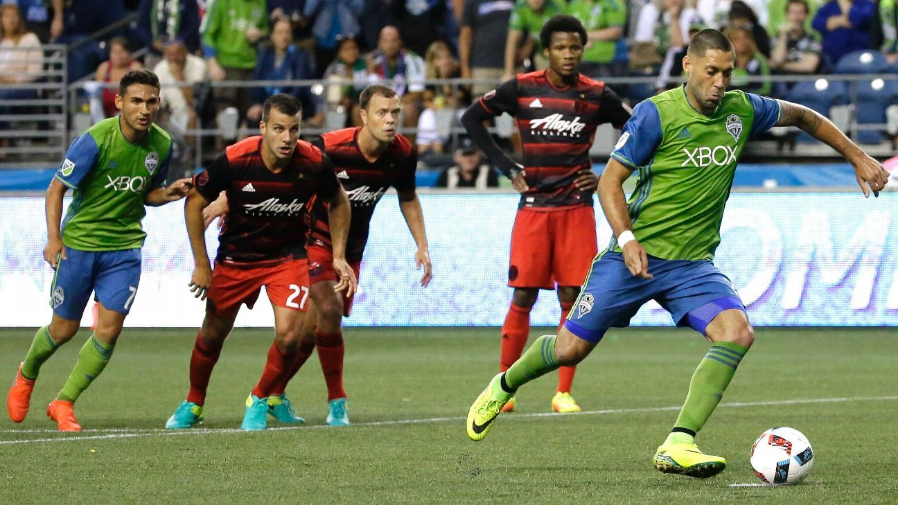 Clint Dempsey scored twice, including this penalty, as the Sounders pulled off a surprise victory over the visiting Timbers.
