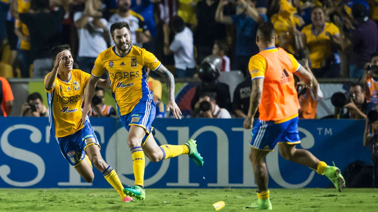 Andre-Pierre Gignac celebrates after scoring his second goal in Tigres' 2-2 draw with Chivas.