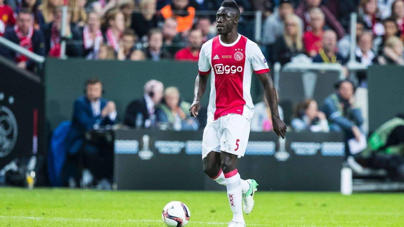 Davinson Sanchez in action for Ajax during the Europa League final against Manchester United.