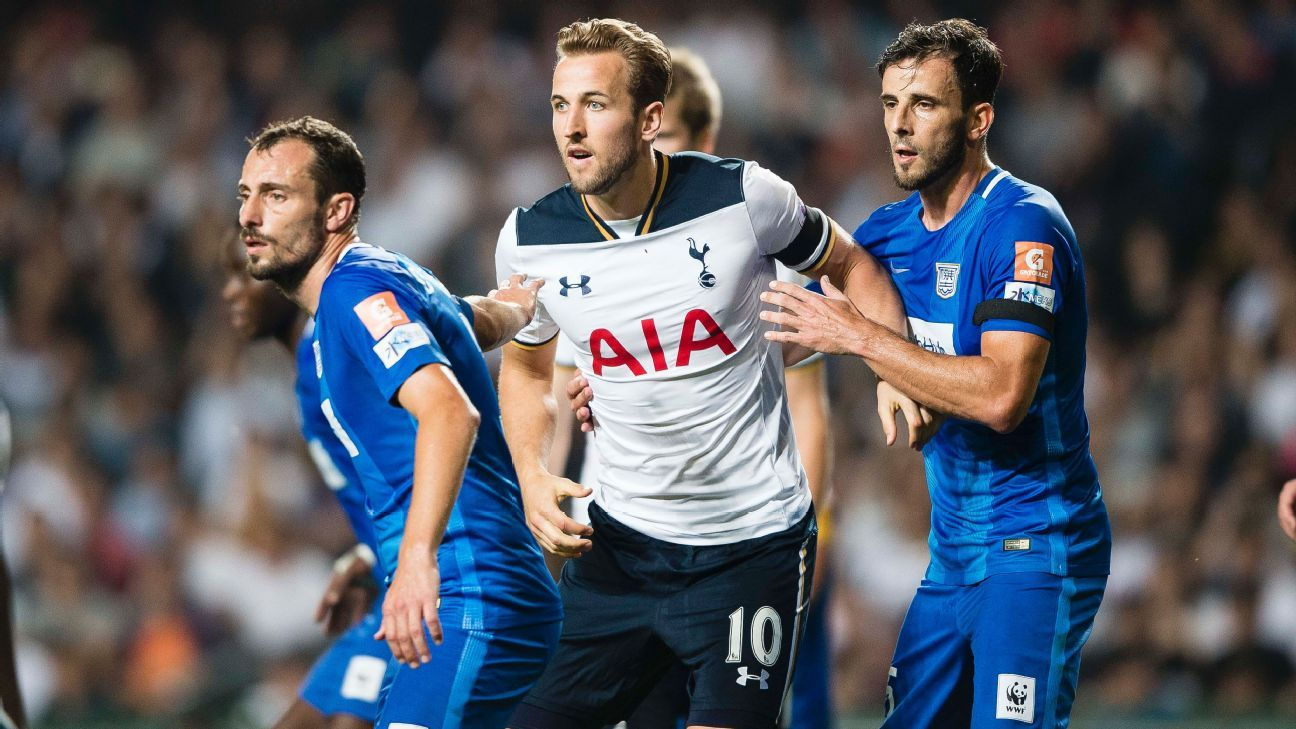 Harry Kane in action for Tottenham during a friendly game against Kitchee SC.