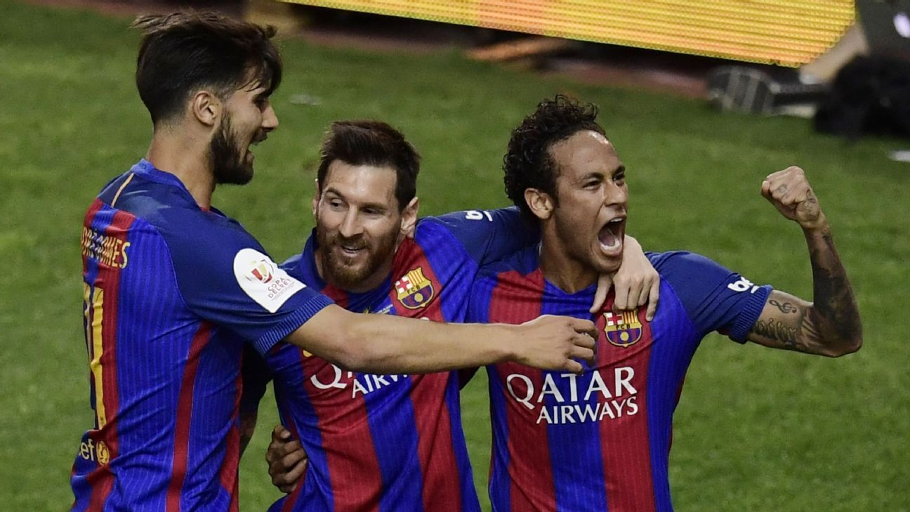 Andre Gomes, Lionel Messi and Neymar