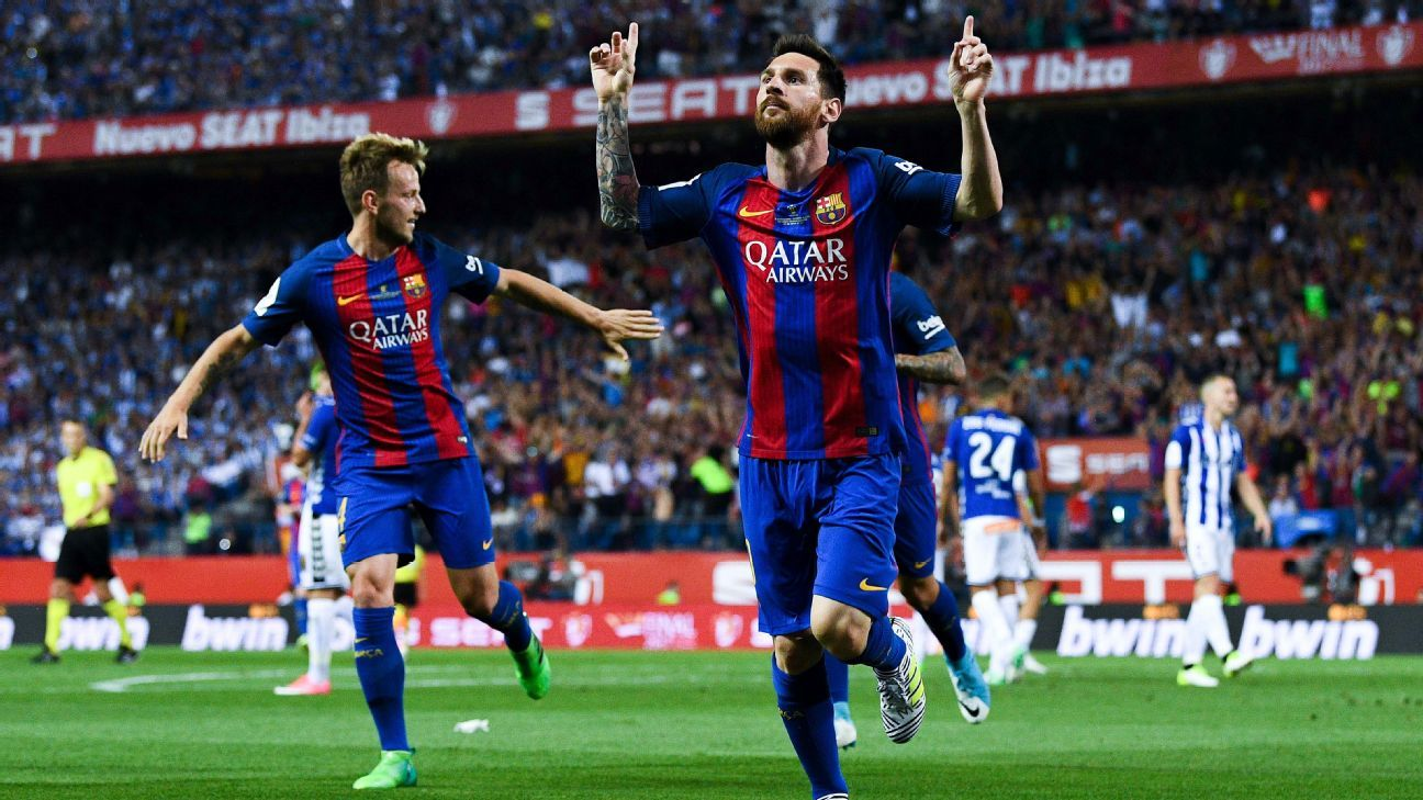 Lionel Messi celebrates after opening the scoring for Barcelona in the Copa del Rey.