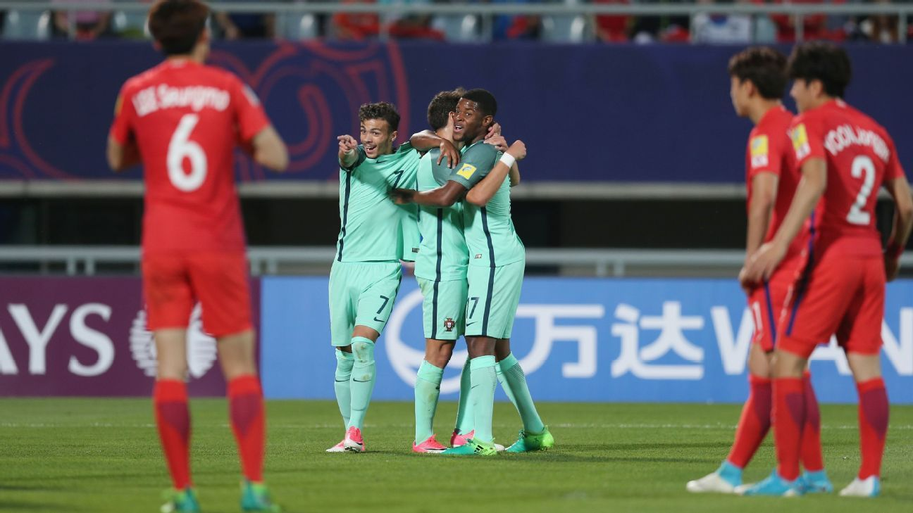 Xadas celebrates after scoring for Portugal in their Under-20 World Cup win against South Korea.