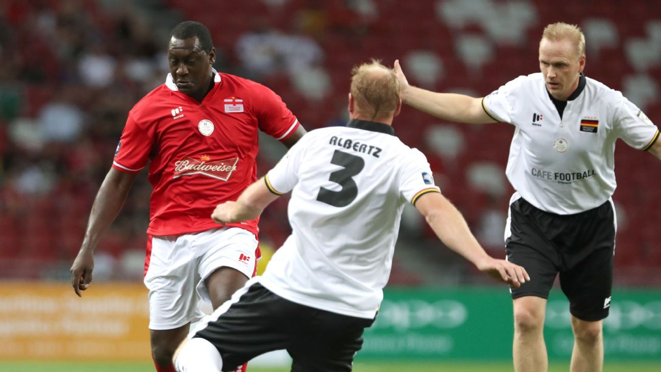 Emile Heskey playing for England Masters v Germany Masters