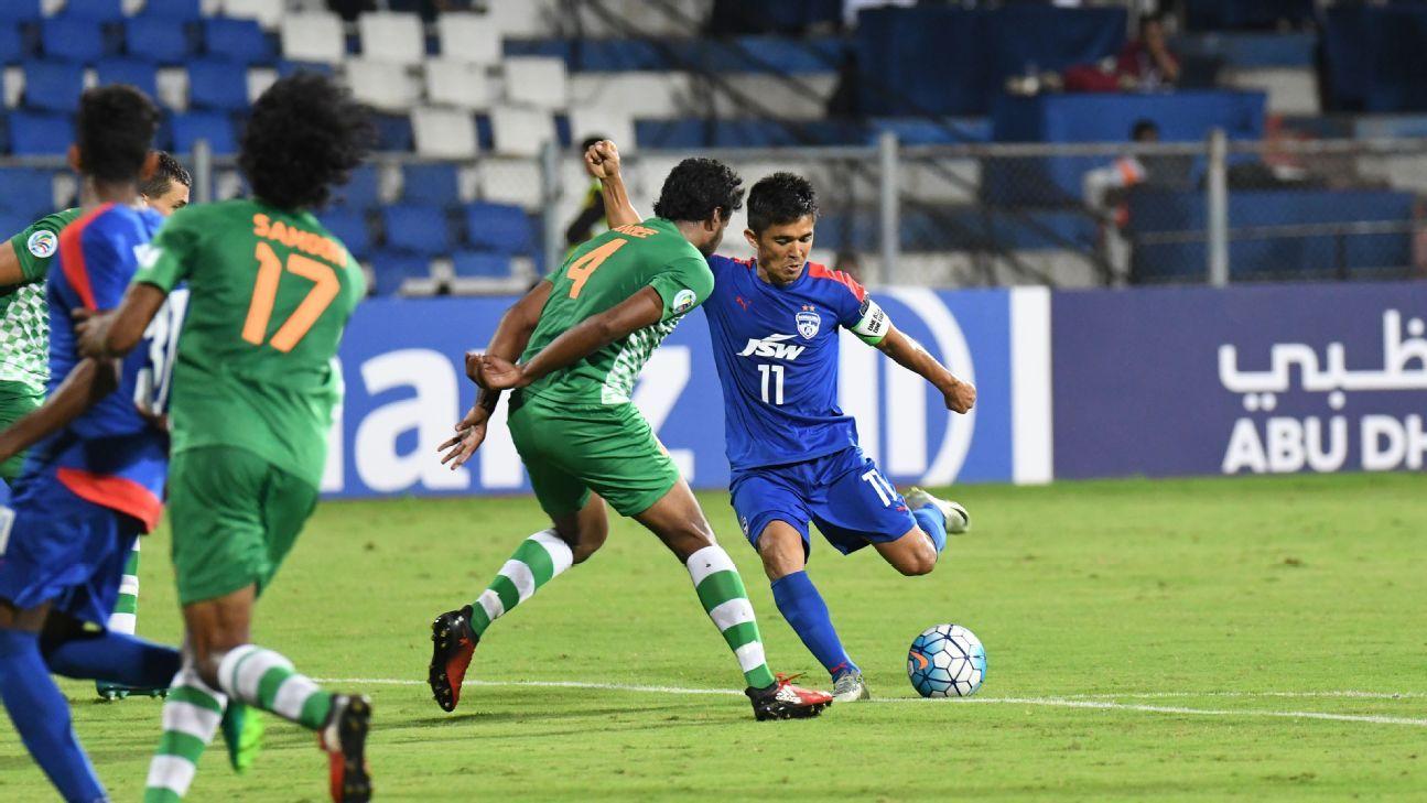 Sunil Chhetri scored Bengaluru FC's winner against Maziya, for whom Kyrgyzstan 'keeper Pavel Matiash plays.