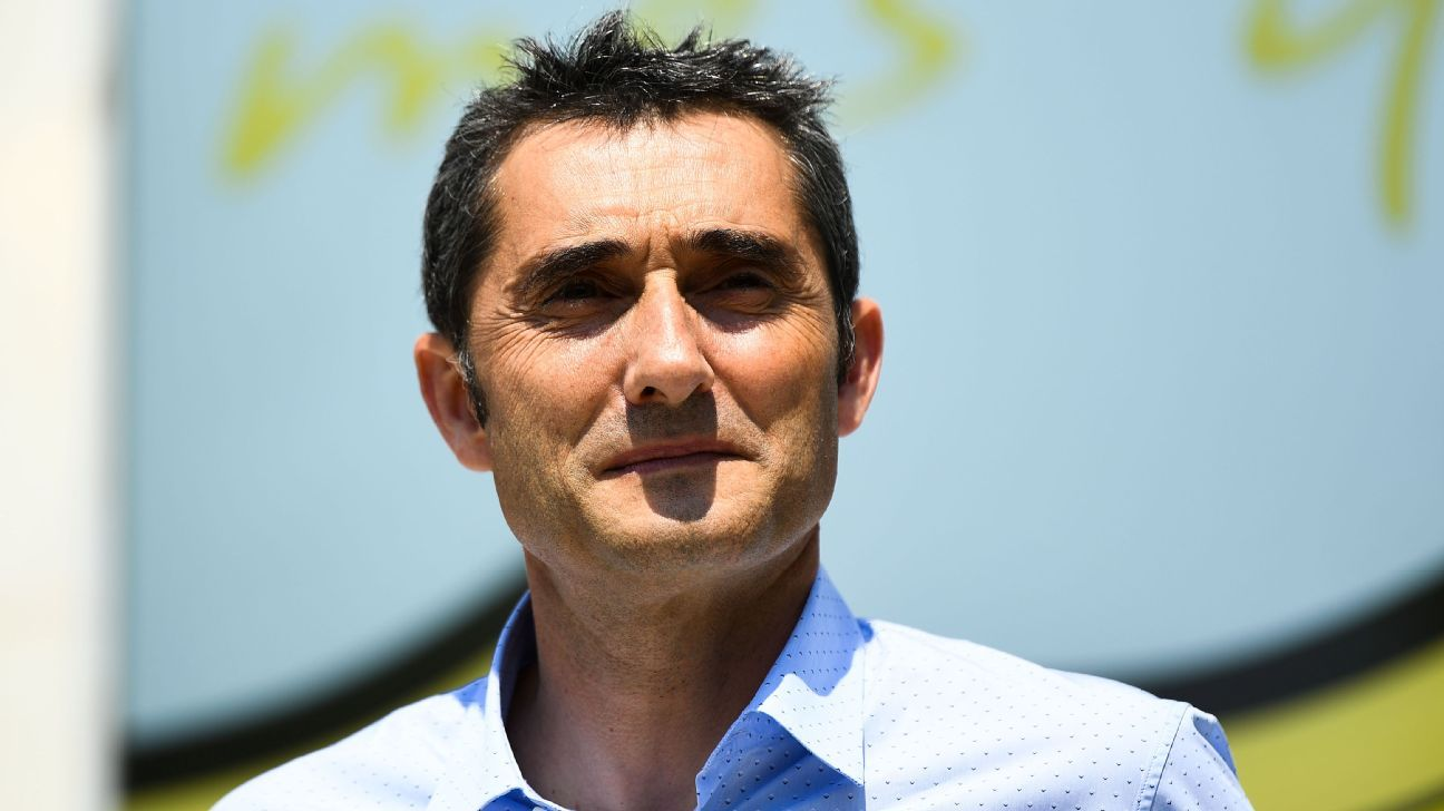 Ernesto Valverde at his presentation as the new coach of Barcelona.
