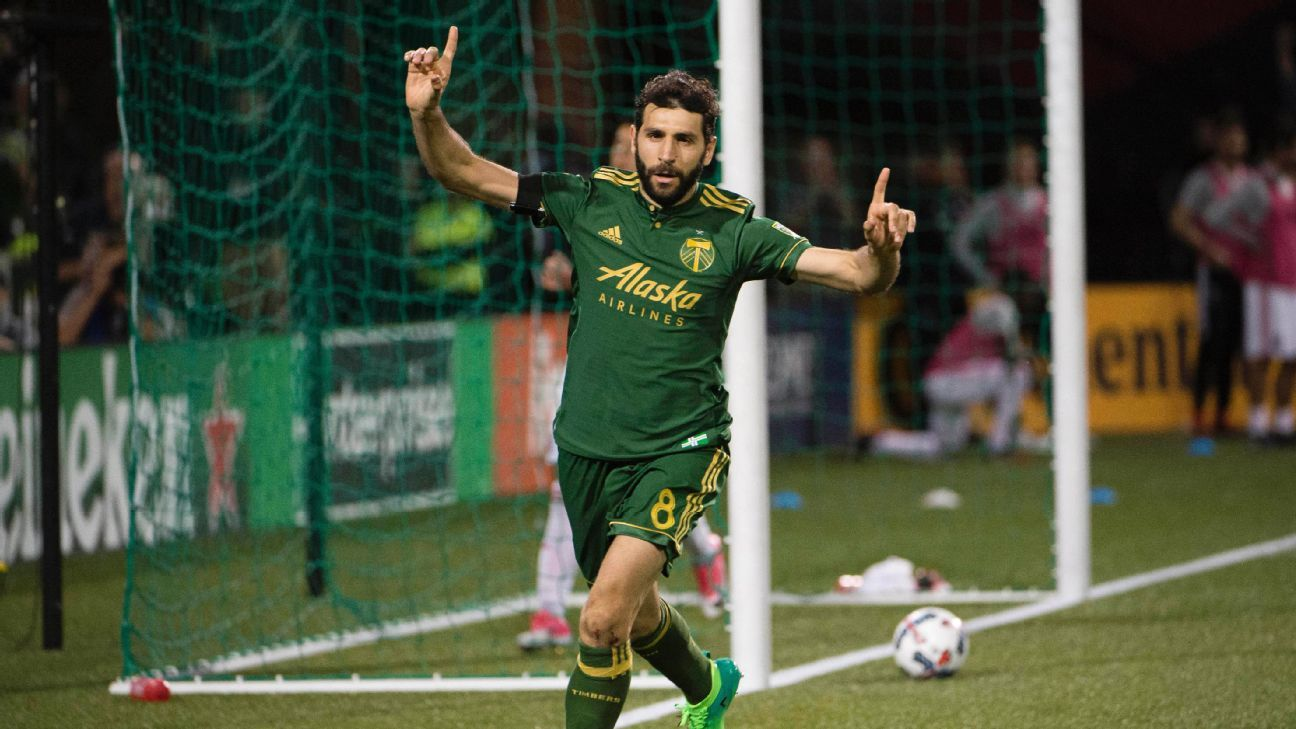 Diego Valeri celebrates after scoring the opener in Portland's Friday night match against San Jose.