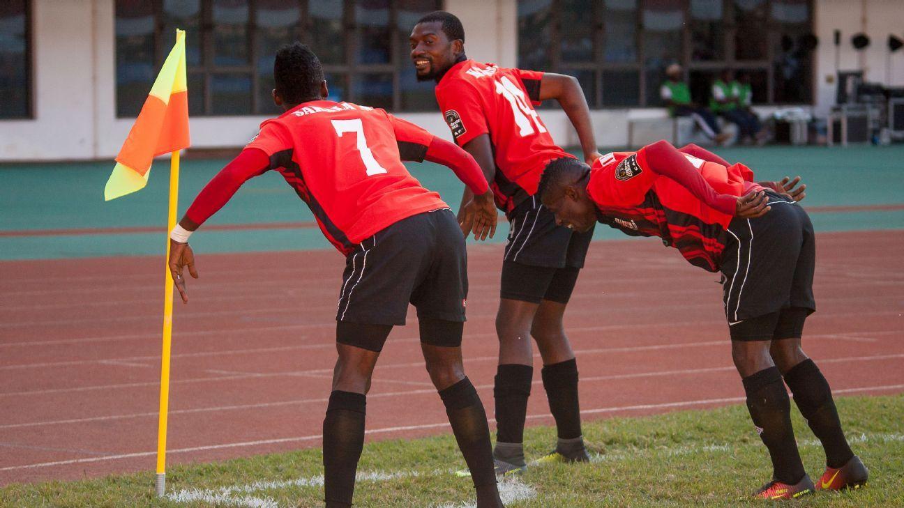 Zanaco players celebrate Saith Sakala's goal against Coton Sport