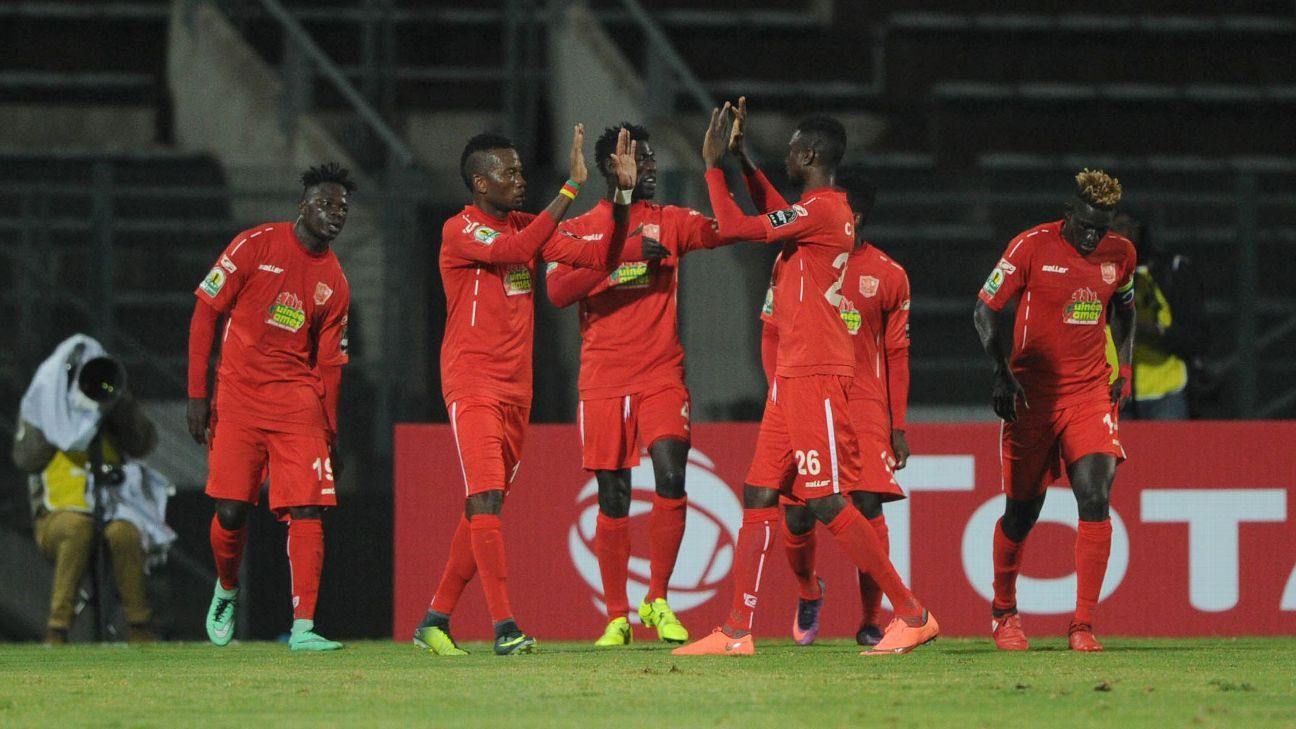 Horoya players celebrate a goal in the CAF Confederation Cup