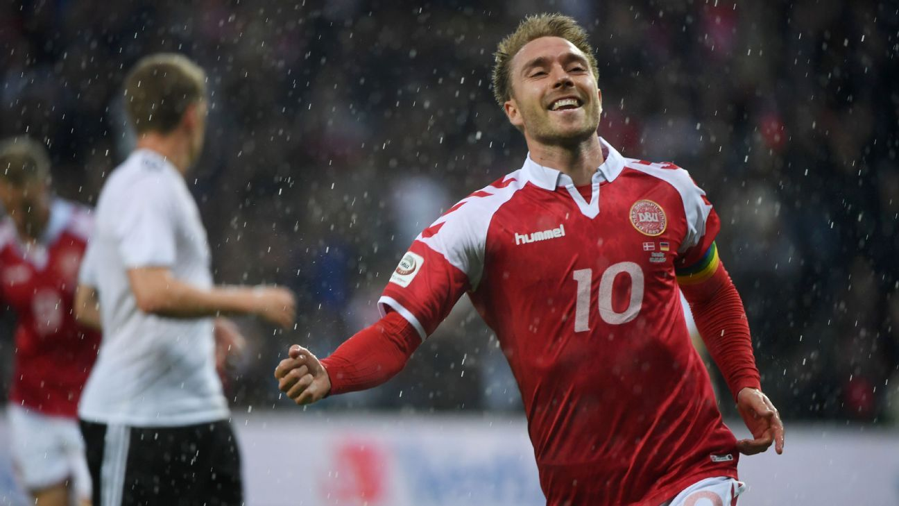 Christian Eriksen celebrates after scoring a goal for Denmark in a friendly against Germany.