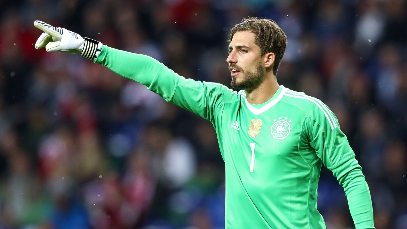 Kevin Trapp in action against Denmark on his debut for Germany.