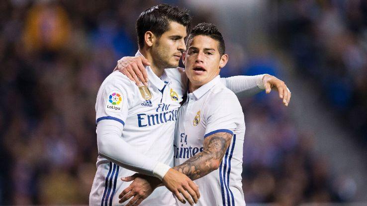 Alvaro Morata and James Rodriguez celebrate a goal during Real Madrid's La Liga game against Deportivo La Coruna.