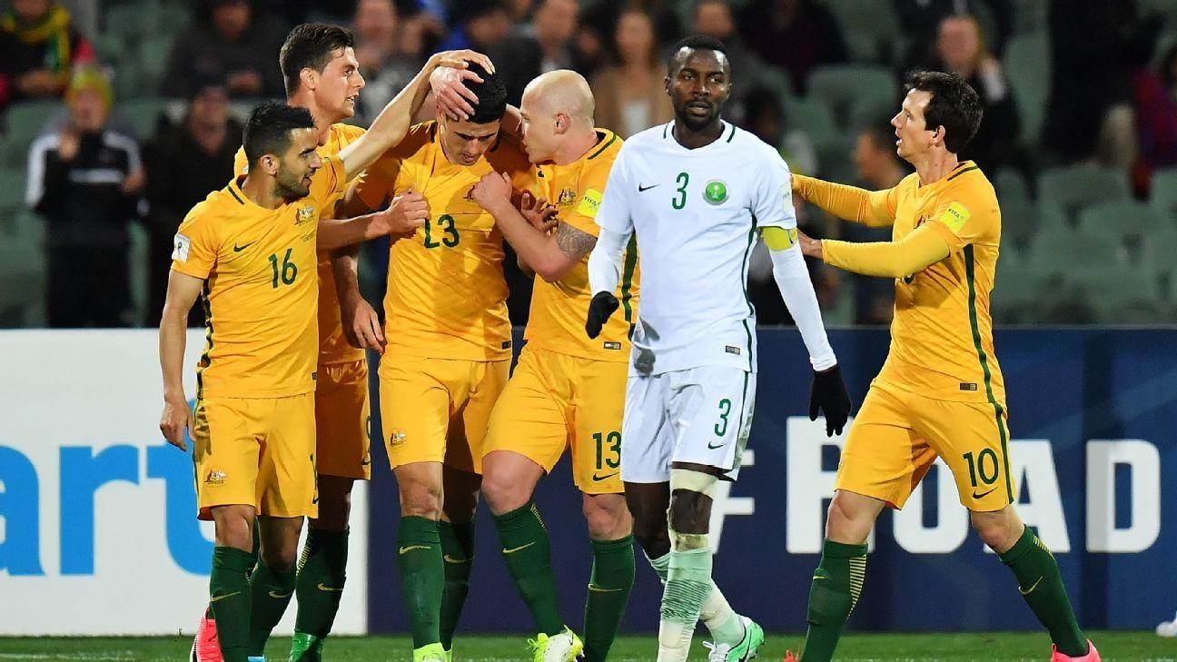 Tom Rogic celebrates Australia goal v Saudi