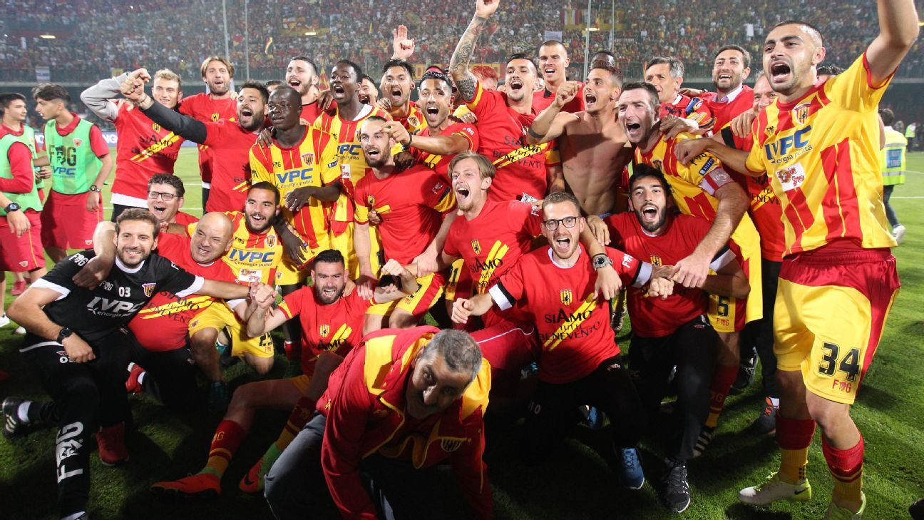 Benevento's players celebrate promotion to Serie A.
