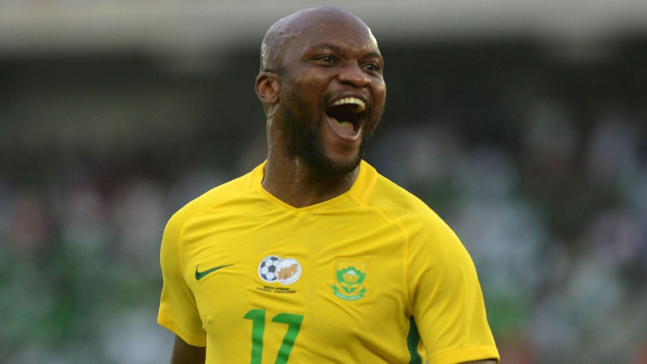 Tokelo Rantie, pictured celebrating a goal against Nigeria, scored 12 times in 41 international appearances for South Africa.