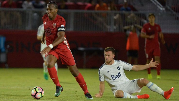 Didier Drogba in action for Phoenix Rising